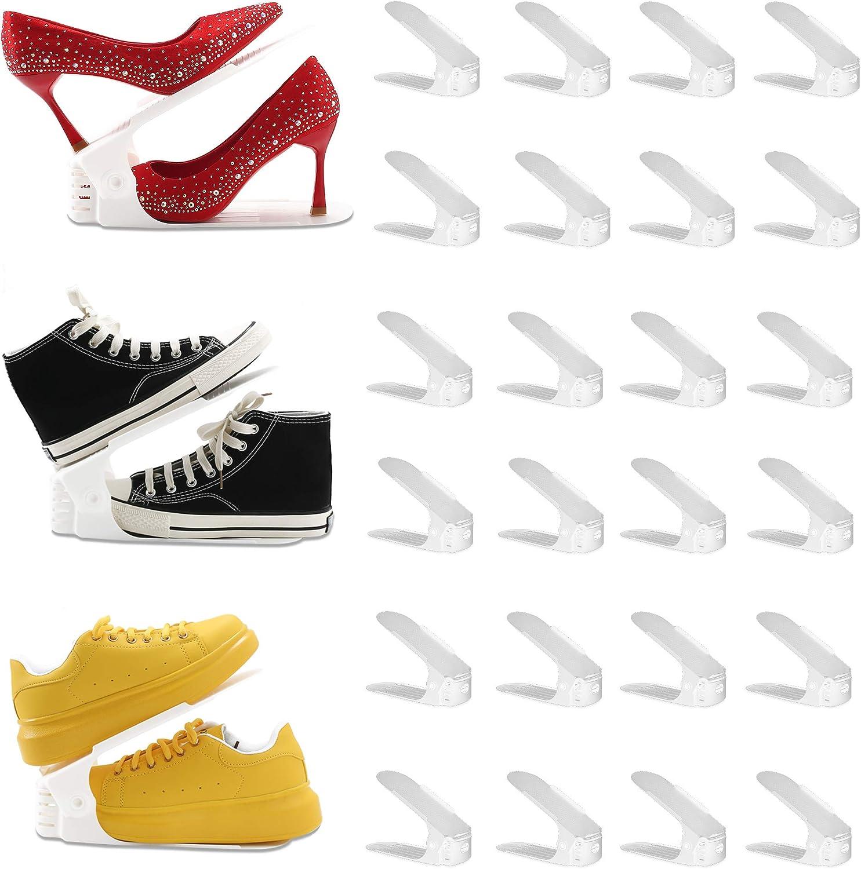 RISETEX Shoe Slots Organizer 24 Pack,Height Adjustable Shoe Stacker,Space-Saving Shoe Space Savers Storage Units,Double Deck Shoe Rack Holder Adjustable Shoe Slots Stacker,Shoe Storage Organizer for Closet Organization,White