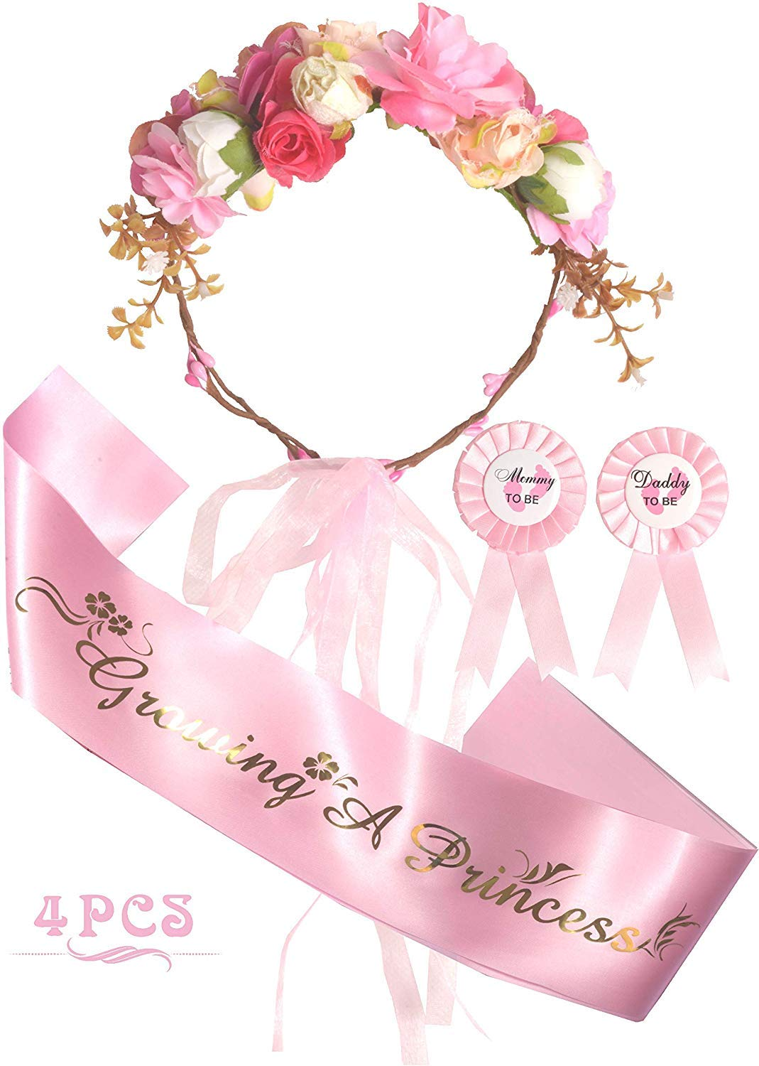 Mother To Be Flower Crown Pink Set, Growing a Princess Sash and Mommy to be Pin, Dad To Be Pin, Pink Baby Shower Party Favors Decorations Gift for Girl (flower crown)