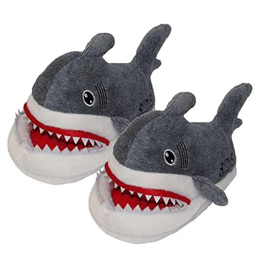 Cute Cartoon Plush Shark Home Cotton Slippers Gray
