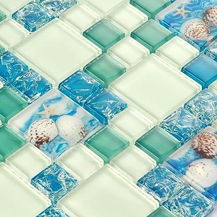 Mosaic Tiles Blue White Beach Style Glass Conch Backsplash Tile Green  Kitchen Crackle Chips Fireplace Bathroom
