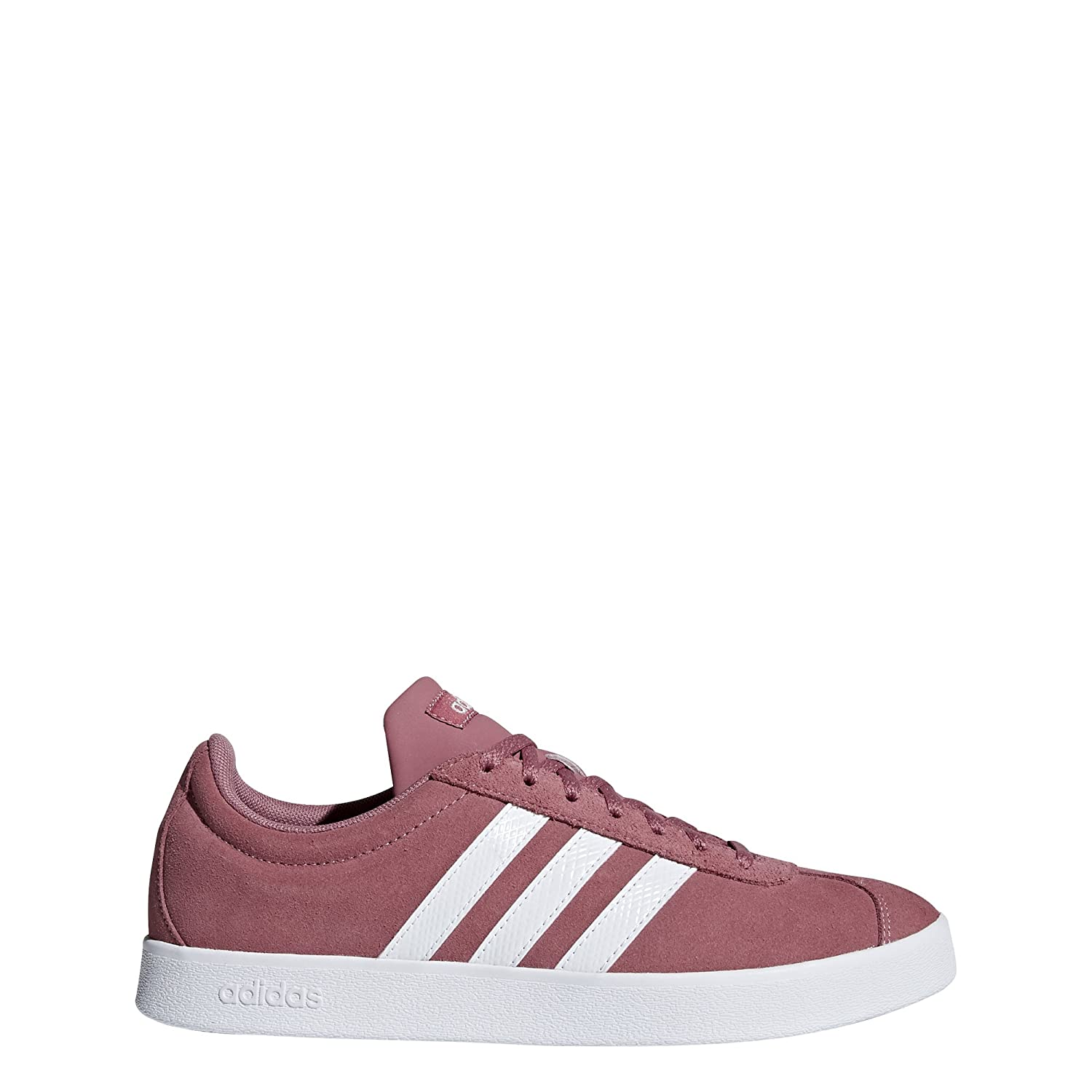 Trace Maroon Footwear White Silver Metallic Adidas Women's VL Court 2.0. Sneakers