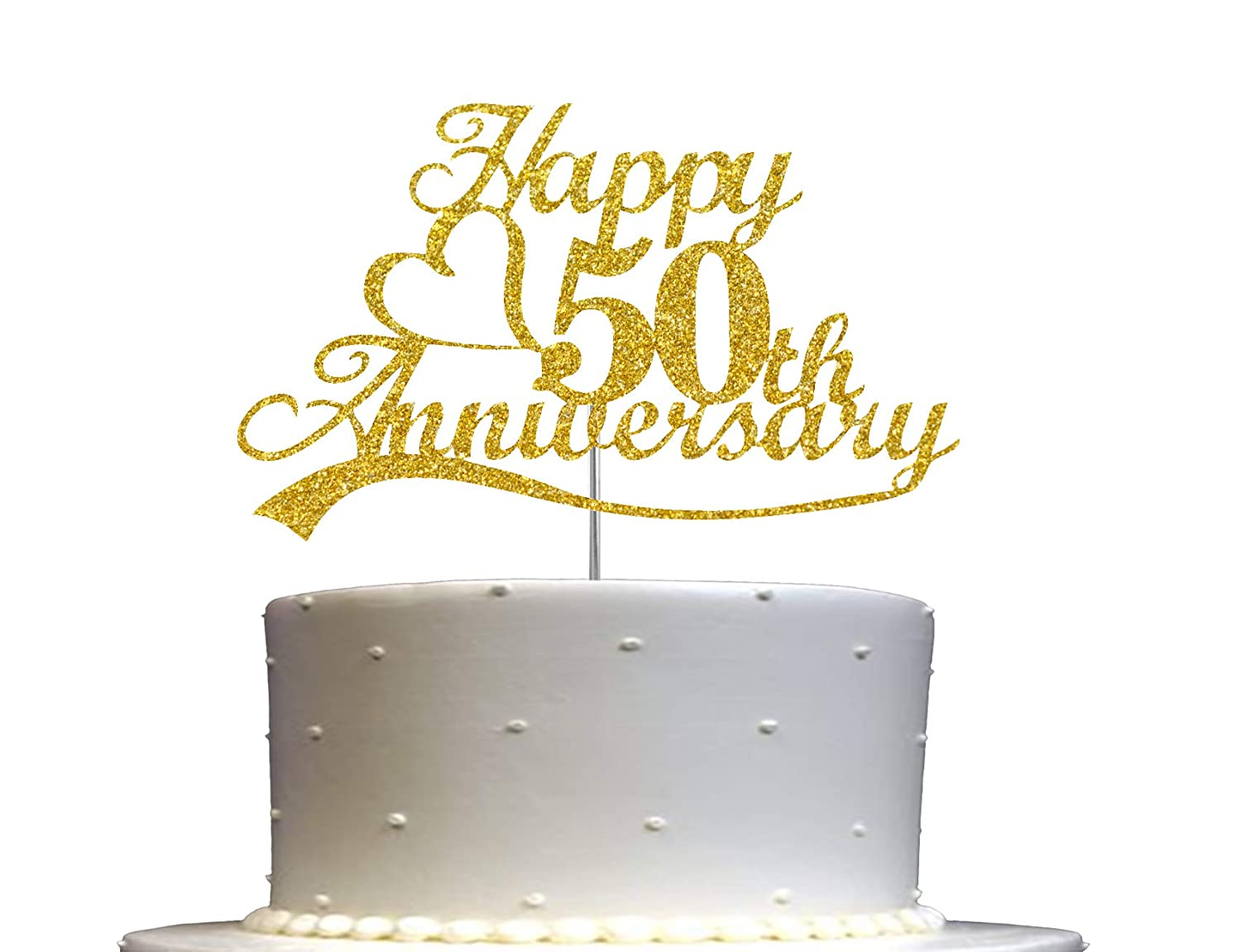 50th Anniversary Cake Topper Gold Glitter, 50 Wedding Anniversary Party Decoration Ideas, Premium Quality, Sturdy Doubled Sided Glitter, Acrylic Stick. Made in USA