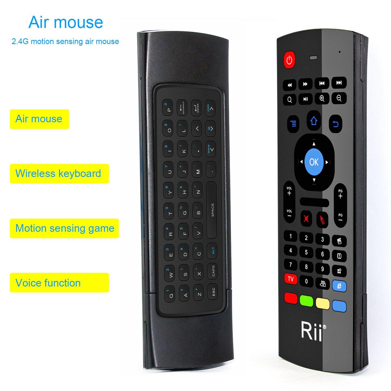 Rii MX3-M 3 en 1: Ratón aéreo inalámbrico 2.4GHz, Teclado QWERTY incorporado con Mando Control remoto de Televisión. Especial para...