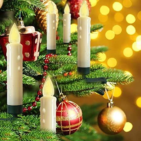 20pcs candle lights for christmas tree with clip alddn led flameless candles ivory taper