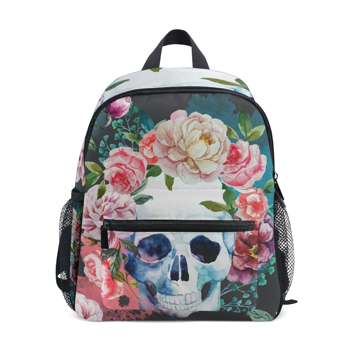 COOSUN - Mochila infantil Watercolor Skull and Rose