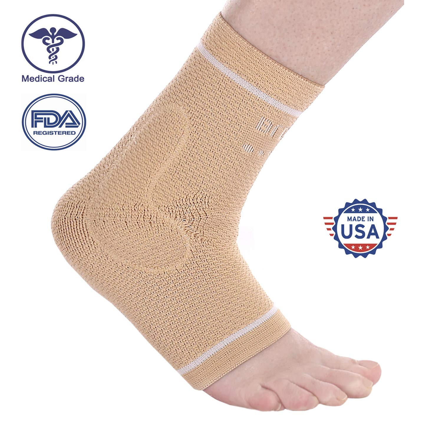 BRD Sport Compression Ankle Brace FDA Registered Brace Offers Targeted Compression for Ankle Pain, Swelling and Sprain, A Perfect Ankle Support (Beige with White Accent Stripe, S [7 1/2''-8 1/4''])