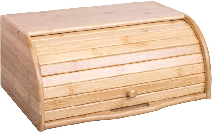 Woodluv Bamboo Bread Bin with Roll Lid Bread Bin or Dry Food Container for Kitchen (No Assembly Required): Amazon.de: Küche & Haushalt