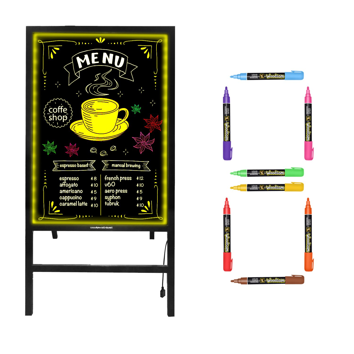 Woodsam Standing LED Board Sign - First Illuminated Easel with Neon Chalk Marker - Rustic Steel Vintage Decor for School, Wedding, Bar, Restaurant, Kitchen, and Home by Woodsam