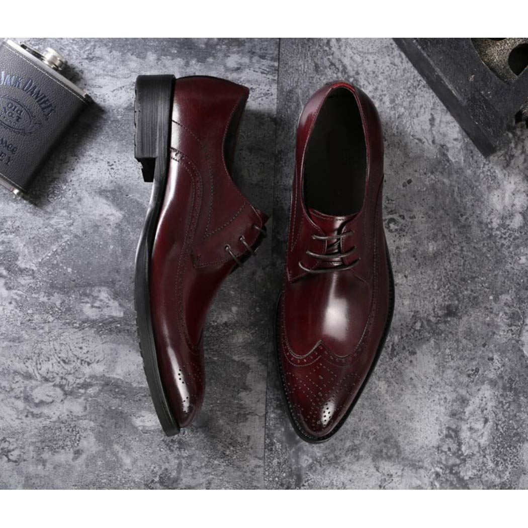 Zaqxs Mens First Layer Cowhide Leather Shoes Mens Shoes with Pointed Mens Shoes Non-Slip Low Shoes Wedding Shoes