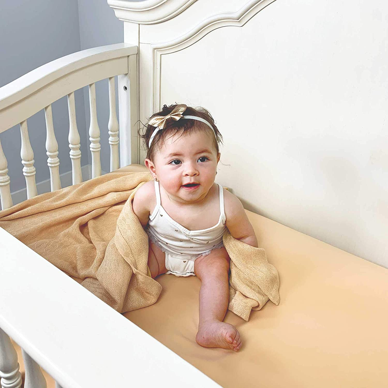 "Boho Style Crib Fitted Sheet Bamboo Muslin Crib Sheets Lightweight /& Hypoallergenic Bamboo Crib Sheet for Kids 58/"" x 28/"" x 9/"" Rainbow Muslin Fabric Crib Sheet for Babies Gender Neutral"