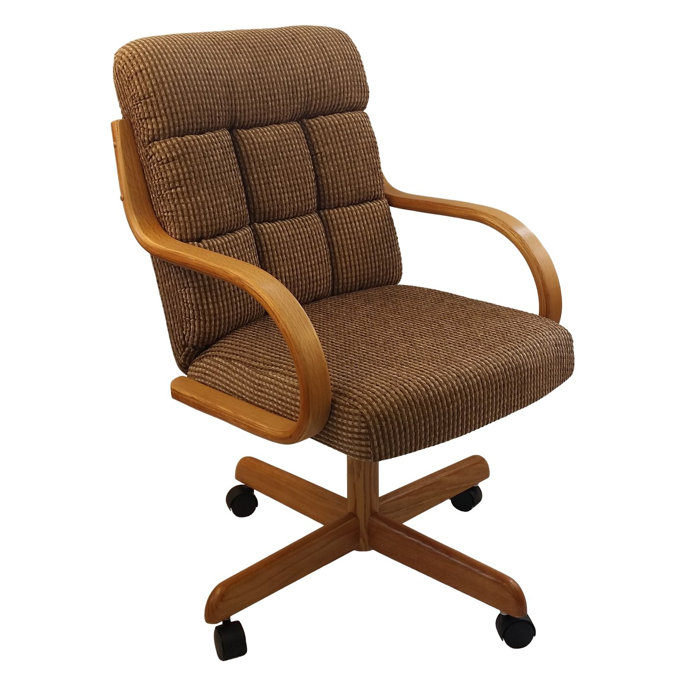 Dining Room Chairs On Casters: Casual Rolling Caster Dining Chair With Swivel Tilt In Oak