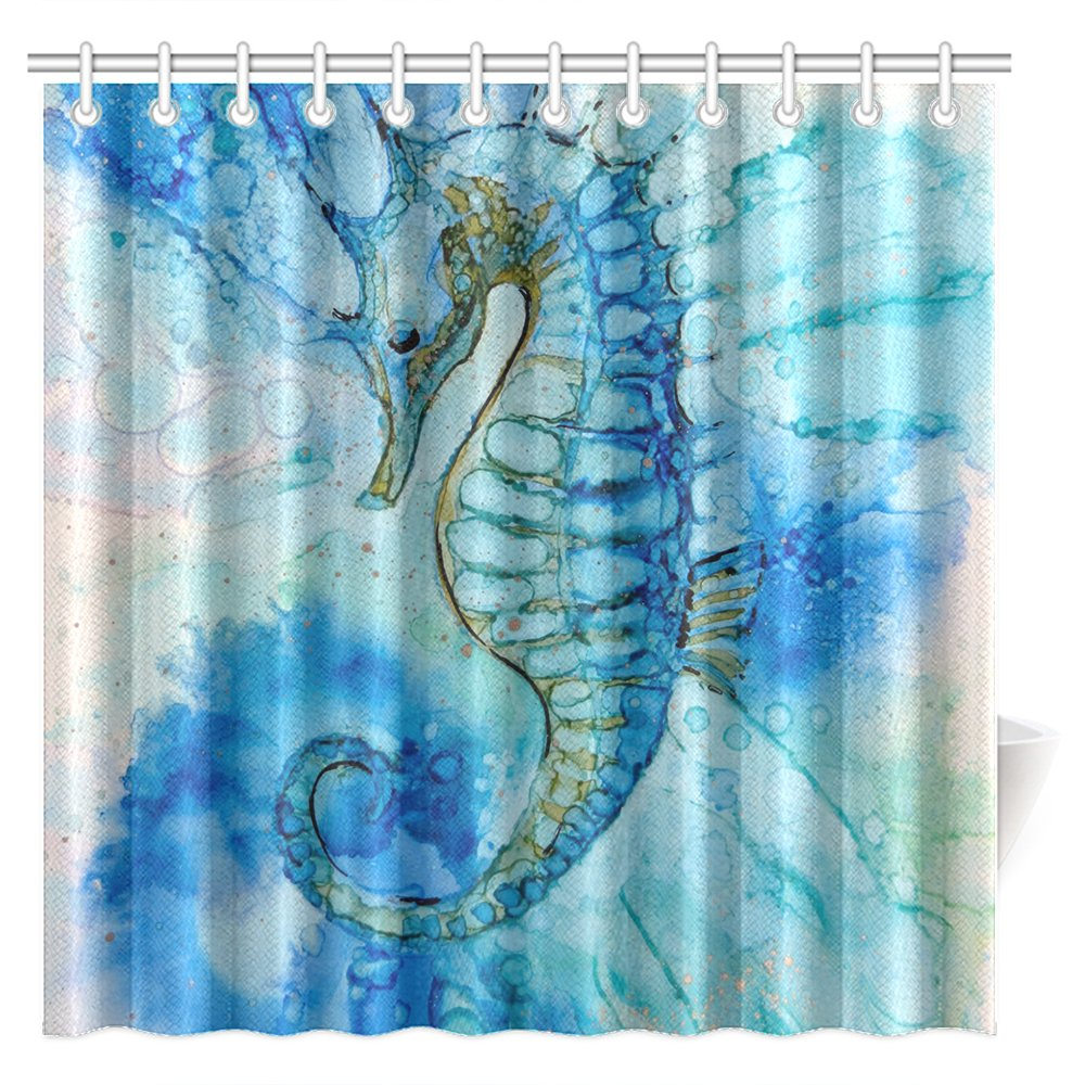 CTIGERS Animal Theme Shower Curtain for Kids Hippocampi Art Polyester Fabric Bathroom Decoration 72 x 72 Inch