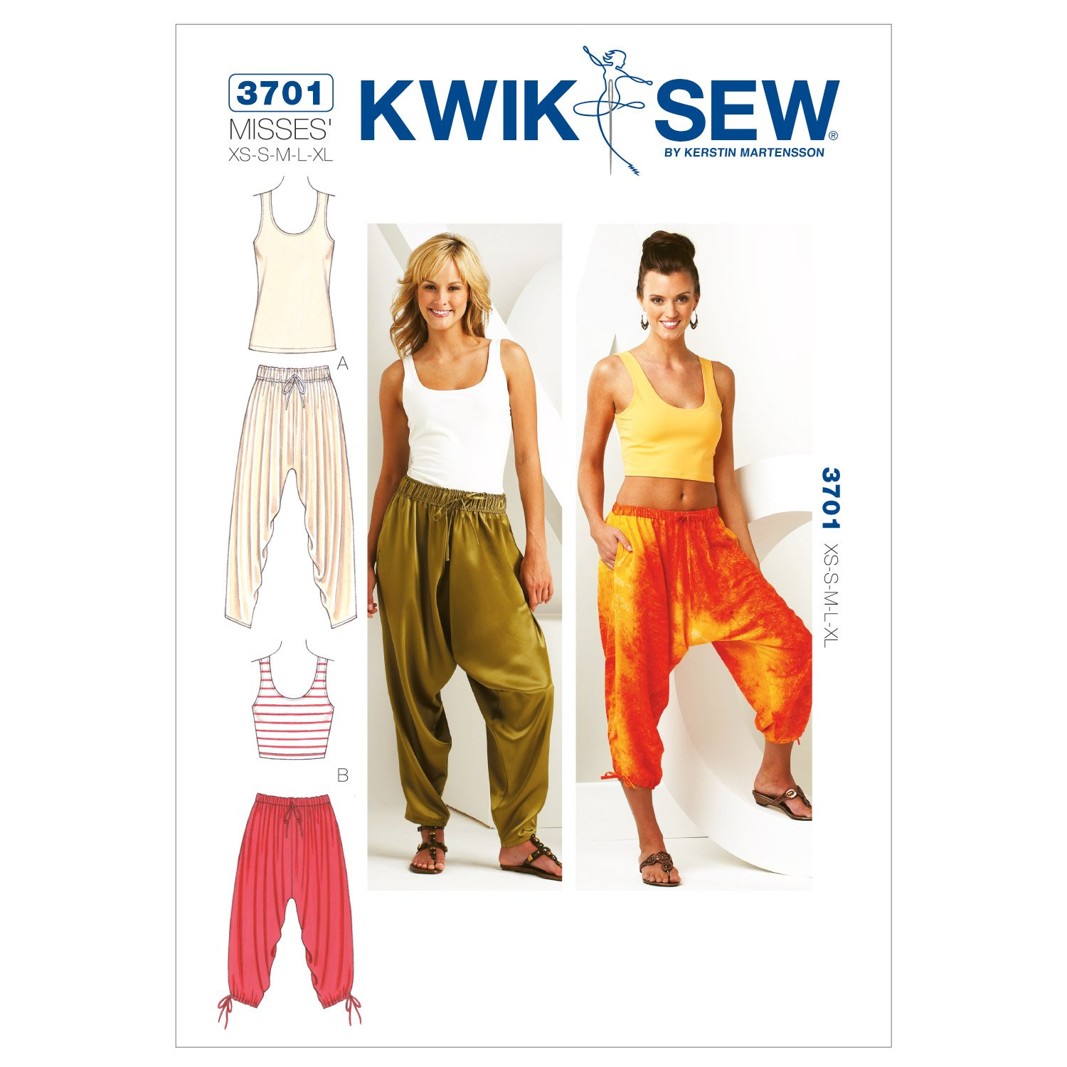 Amazon.com: Kwik Sew K3701 Pants and Tops Sewing Pattern, Size XS ...