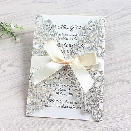 JOFANZA 50x Champagne Glitter Taglio laser carte per inviti di nozze con nastro e buste invito carta per fidanzamento Quinceanera compleanno nuziale doccia baby shower festa di laurea