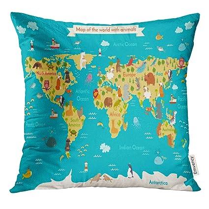 Preschool World Map.Amazon Com Vanmi Throw Pillow Cover Cute Animals World Map