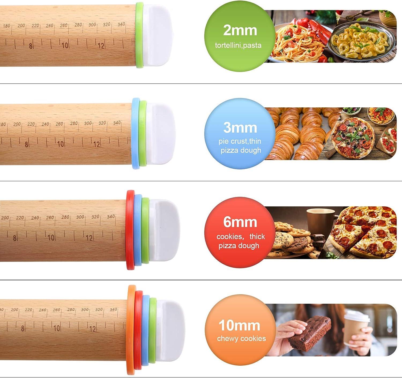 Aitsite Einstellbares Nudelholz,Antihaft Nudelholz,Nudelholz,mit Skala und Einstellbaren Dickenringen,Silikongeb/äckmatte,Sehr Gut f/ür Pizza,Kekse,Kuchen,Nudelteig und M/ürbeteig usw
