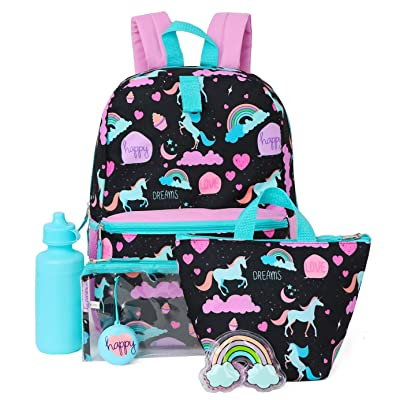 Kids 6 in 1 Backpack Set With Backpack, Lunch Box, Pencil Case & More (Rainbows/Happy) | Kids' Backpacks