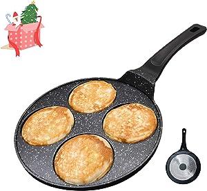 Vinchef Pancake Pan Nonstick, 10.5 inch Pancake Griddle Pancake Maker, Cake Egg Cooker Skillet Mini Crepe Maker For Kids, 100% PFOA Free Coating (4-mold 10.5in)