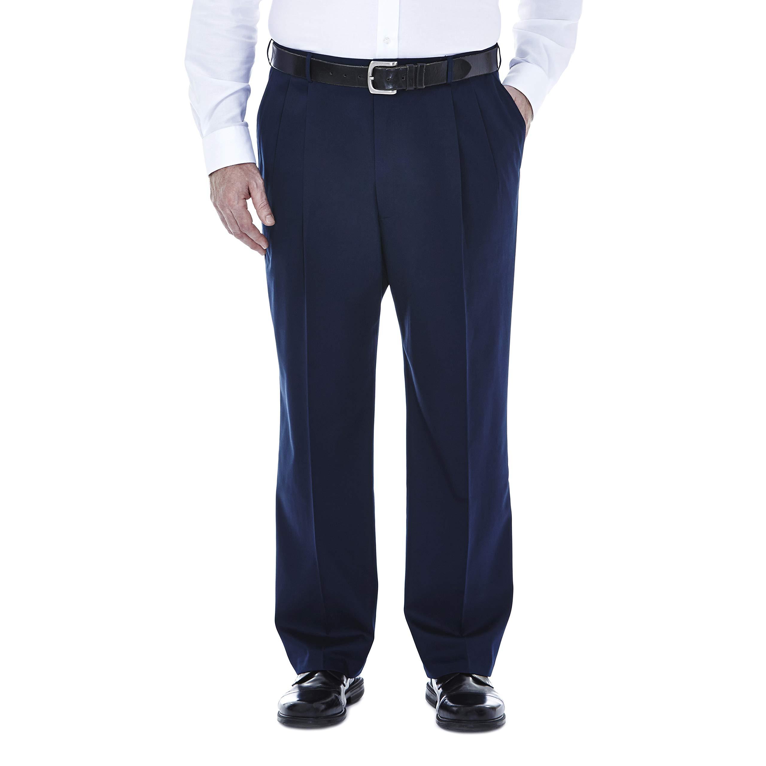 Haggar Men's Big-Tall Premium No Iron Classic Fit Pleat Front Pant, Dark Navy, 48x30