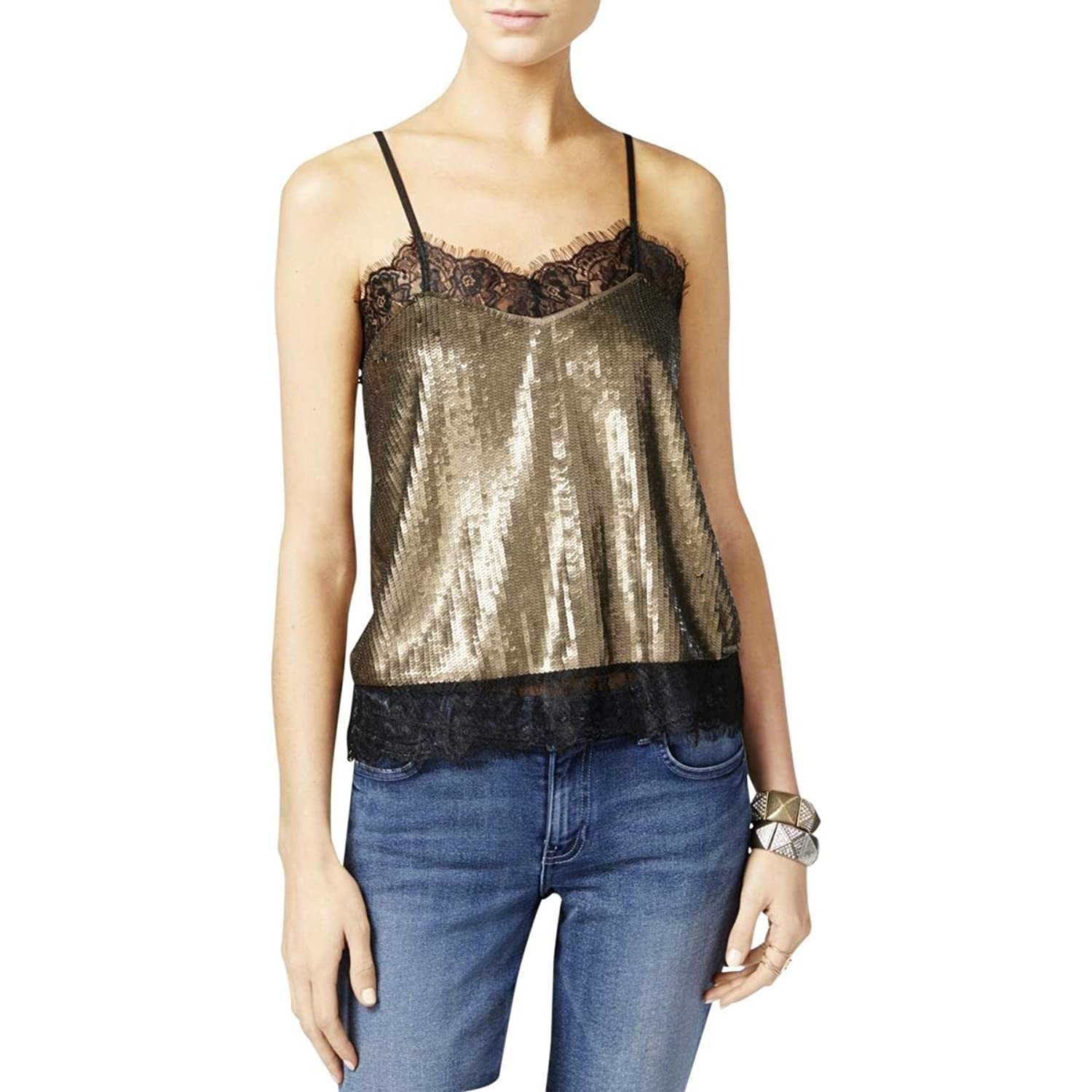 GUESS Womens Sequined Lace Trim Camisole Top