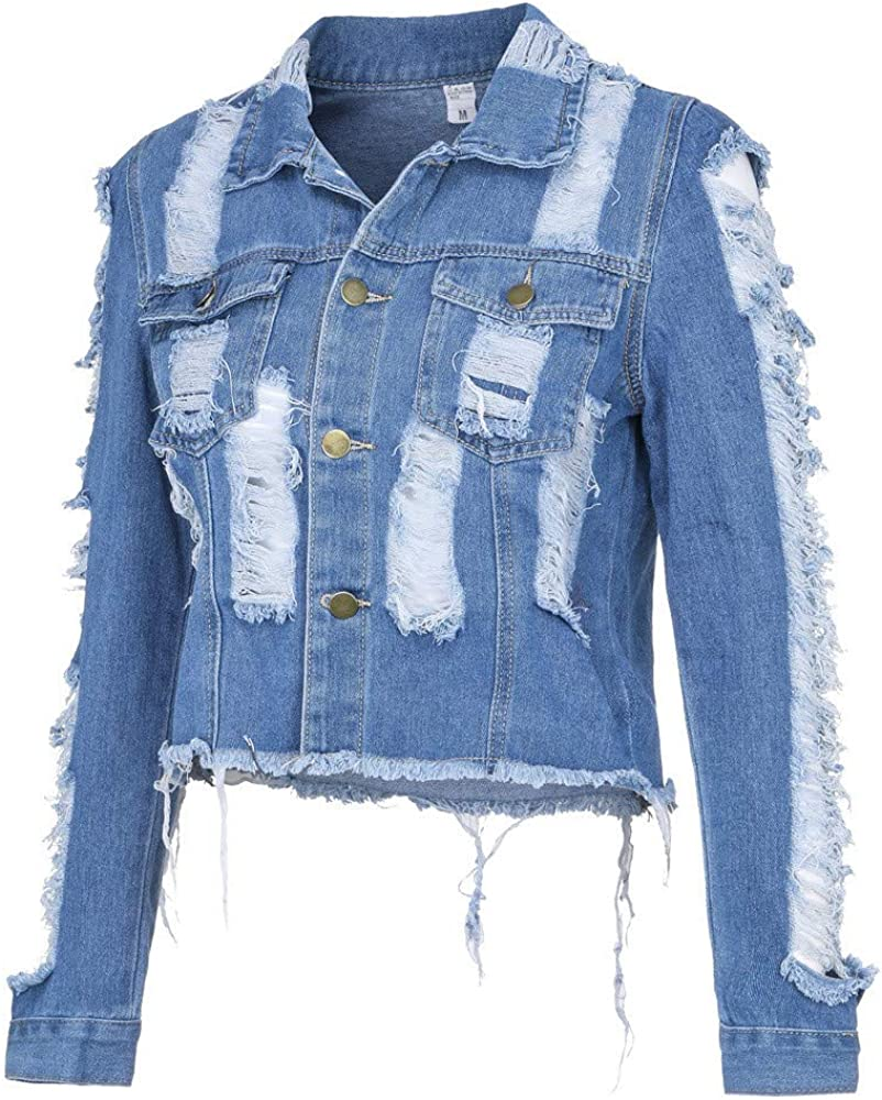 DIOMOR Fashion Ripped Frayed Denim Jacket for Women Casual Distressed Button Down Denim Shirt Lapel Jean Coat Outwear