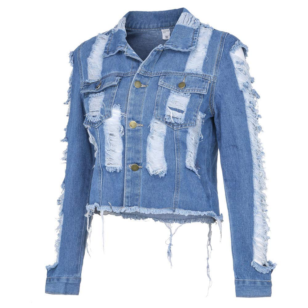 Highpot Womens Ripped Broken Denim Jacket Button Jean Boyfriend Jacket Coats