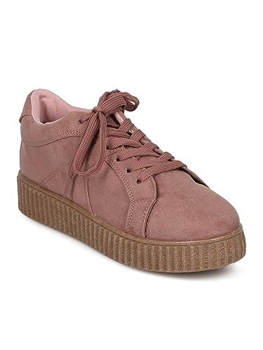 c9c33a3755948 Qupid Women Faux Suede Lace Up Flatform Sneaker GB87 - Mauve Faux Suede  (Size: