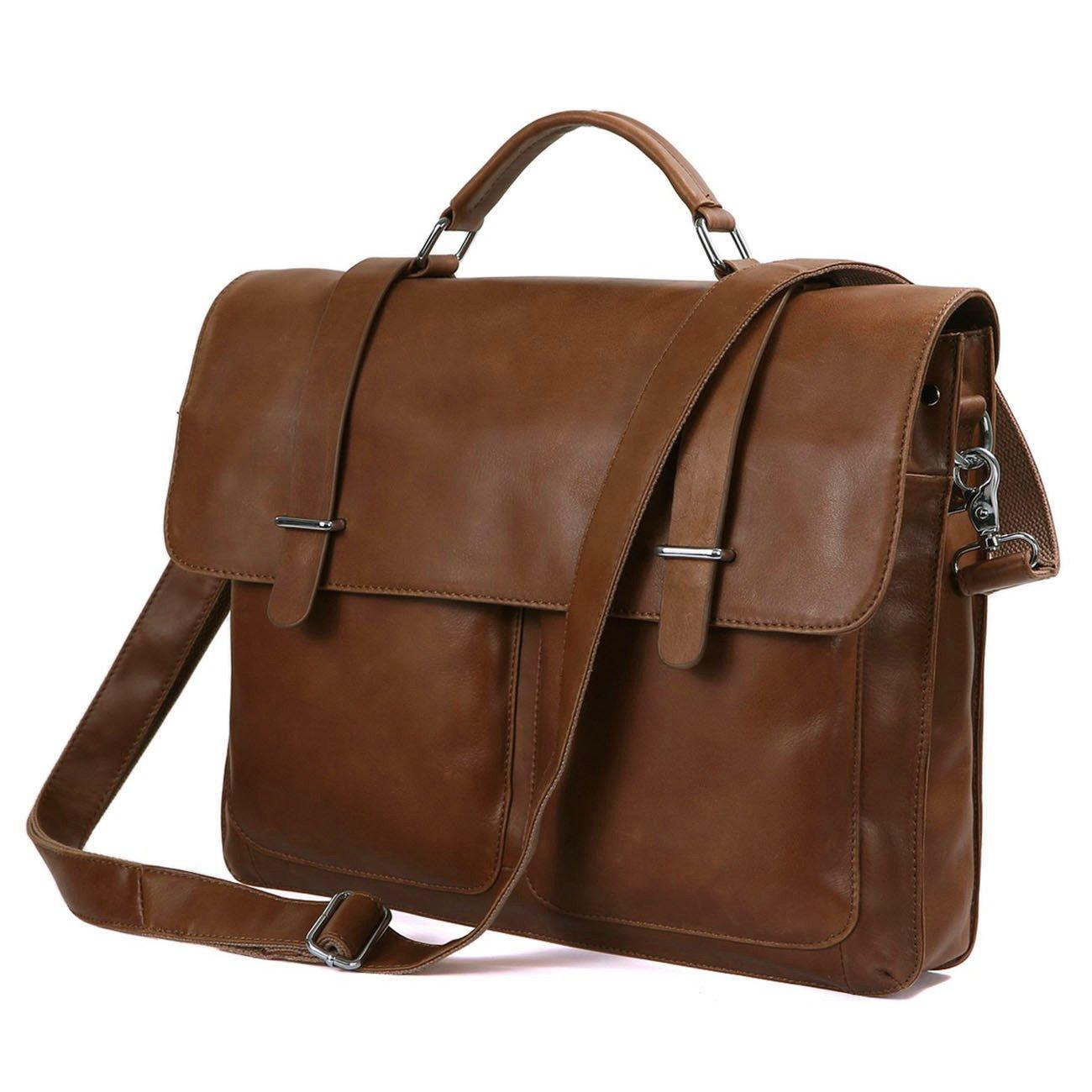 DRF Leather Business Messenger Bag Satchel Briefcase for Men Laptop Office Bag BG-263 (Brown)