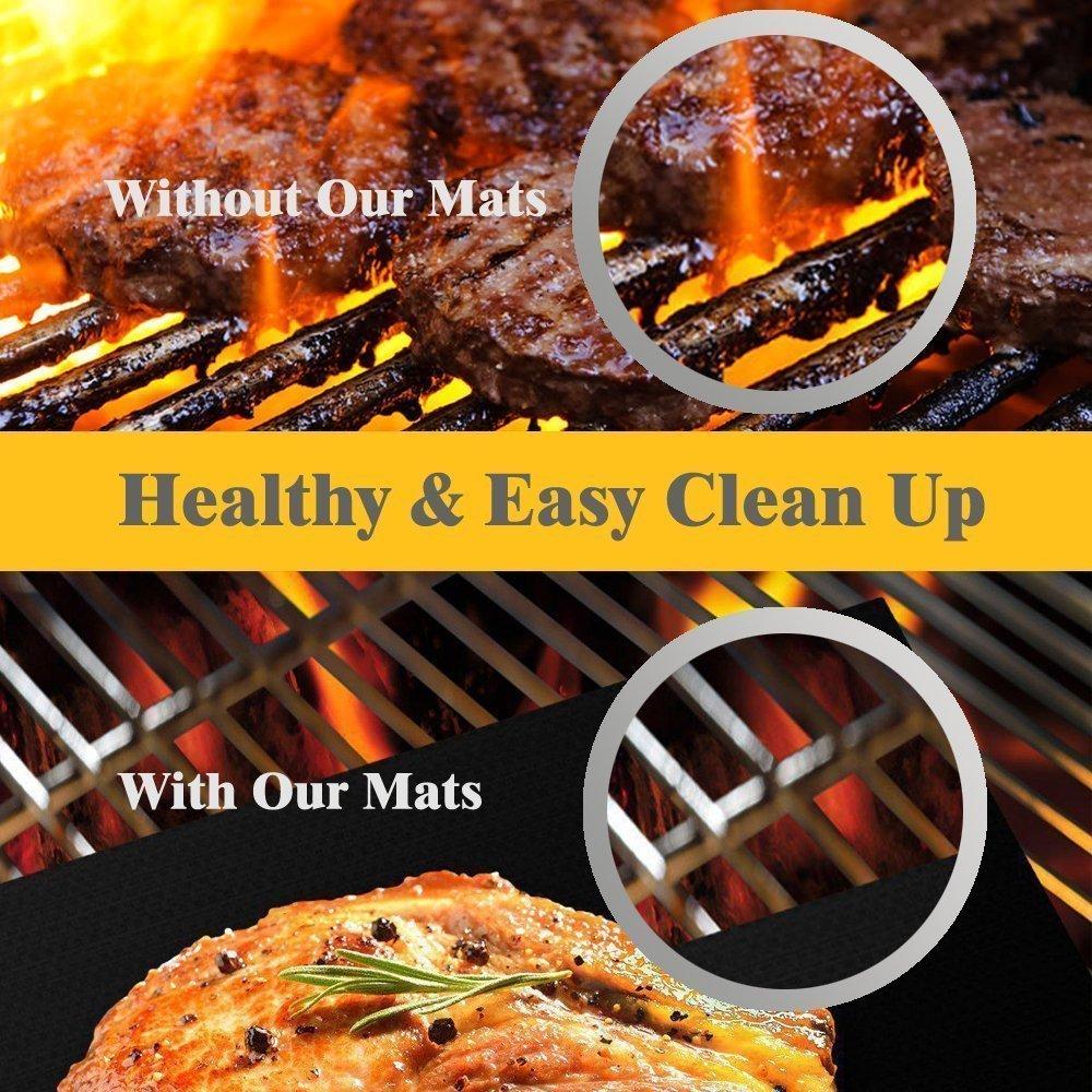 Amazon.com : Black Grilling Mat Oven Liners BBQ Baking Mats - 100 ...