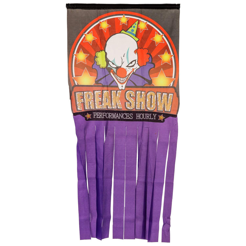 Halloween Haunters Hanging Clown Doorway Entryway Window Curtain or Door Cover - 66'' x 31'' Freak Show Haunted House Party Banner Entrance Prop Decoration