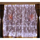 DLPIN 304LED Window Curtain Lights for Party Wedding Graden UL Safe Fuse 8 Mode Saving Settings 9.8ft - White