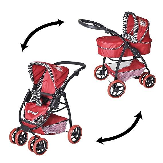 Amazon.es: Knorrtoys 92907 Coco Rockabella - Cochecito combi para muñecos (incluye silla de paseo y capazo), color rojo: Juguetes y juegos