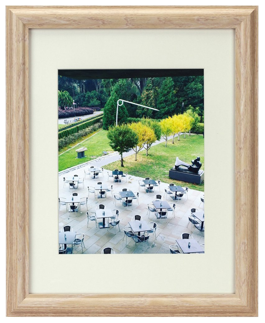 Frametory, 16x20 Natural Color Frame - Curved Bevel Design - Made to Display Pictures 11x14 Photo With Ivory Color Mat - Real Glass (Natural 16x20, 1) FT-MN3020-1620M-01 FT2090