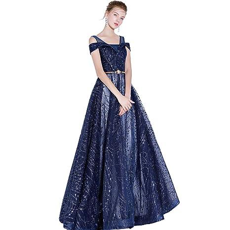CJJC Elegante Abito da Sera Elegante da Donna Elegante con Paillettes Lungo  Pavimento da Donna 45c2607f923