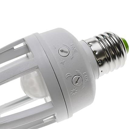 Cablematic - Rosca bombilla con detector de movimiento por infrarrojos ES27