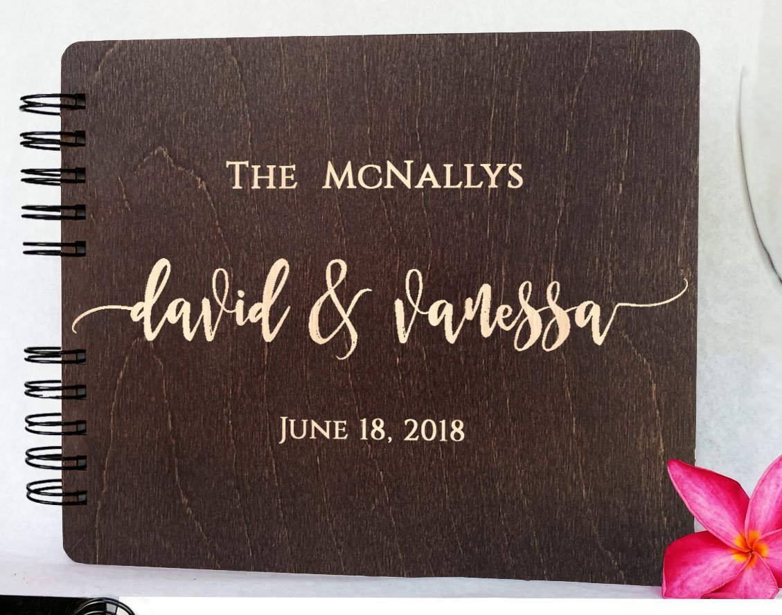 Wood Wedding Guest Book 8.5''x 7'' - Personalized Wooden Rustic Charm Custom Engraved Bride and Groom Names Date Vintage Monogrammed Unique Bridal Gift Idea Guest Registry Guestbook Made in USA