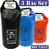 3 Bag Set - DRY VAULT – DRY BAG SETS – 500D PVC Tarpaulin – 20L, 10L, 5.8L with shoulder straps - WEATHERPROOF - WATERPROOF BAGS - BEST DEAL ON AMAZON - 100% Guaranteed -3 QUALITY Bags for Price of 1
