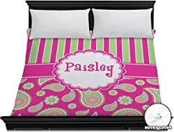 RNK Shops Pink & Green Paisley and Stripes Duvet Cover - King (Personalized)