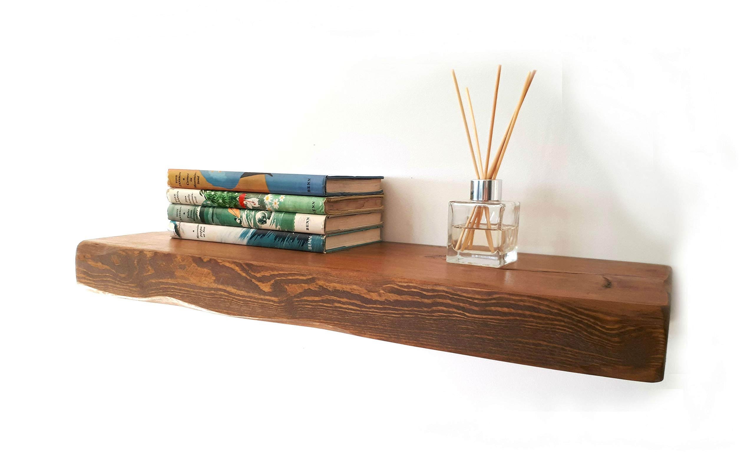 floating shelves reclaimed solid wood rustic wall shelf in medium oak finish 1 5 ft long perfect for living room kitchen bathroom office
