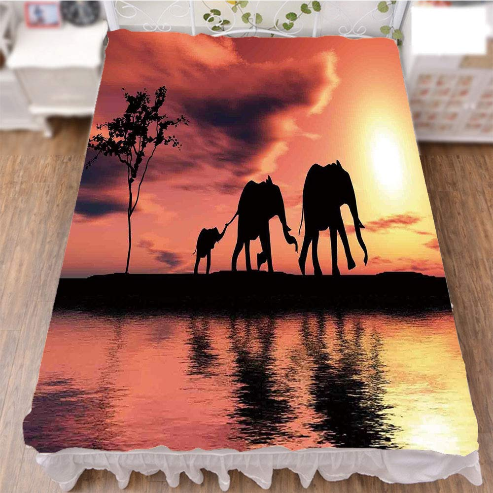 Bed Skirt Cover 3D Print,a River Africa Animals Wildlife Adventure,Fashion Personality Customization adds Color to Your Bedroom. by 70.9''x94.5''