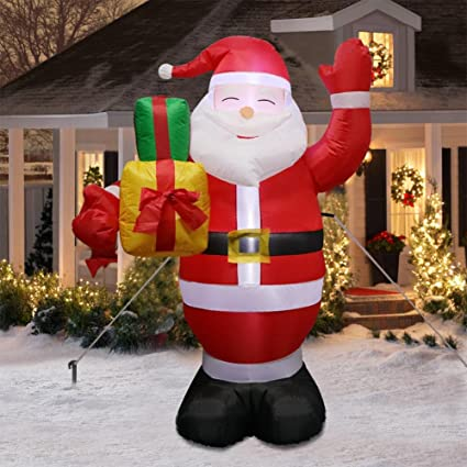 aerwo 5ft christmas inflatables greeting santa light christmas blow up yard decor christmas inflatables decoration - Outdoor Christmas Inflatables