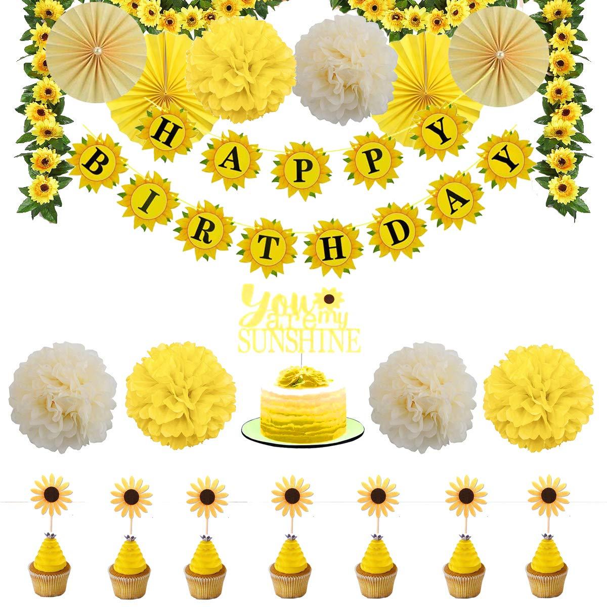 Tremendous Sunflower Birthday Party Decorations Supplies Kit Sunflower Happy Funny Birthday Cards Online Necthendildamsfinfo
