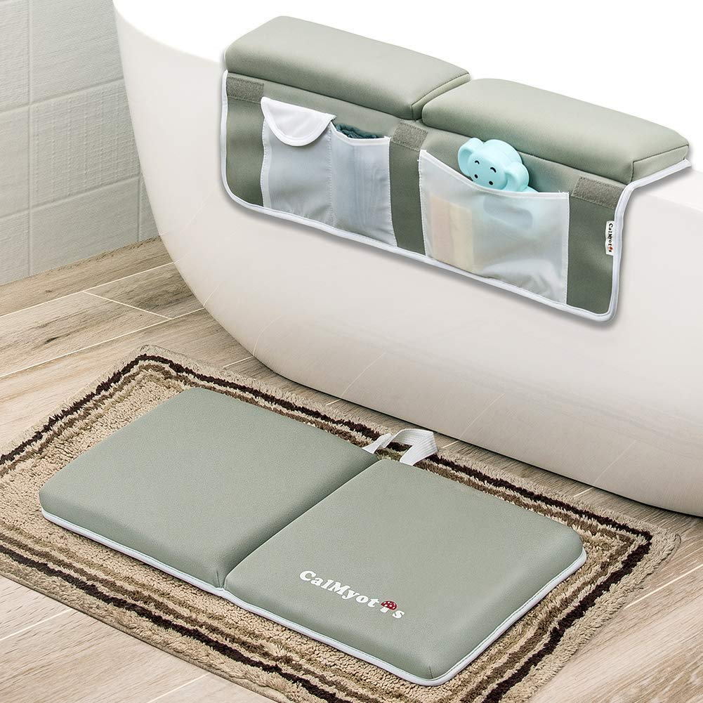 CalMyotis Bath Kneeler with Elbow Rest Pad Set - Waterproof, Anti-Slip Cushioning Baby Bathtub Kneeling Pad, Bath Kneeler Pad for Bathing Time, Machine Washable, Hangable, Shower Gift by CalMyotis