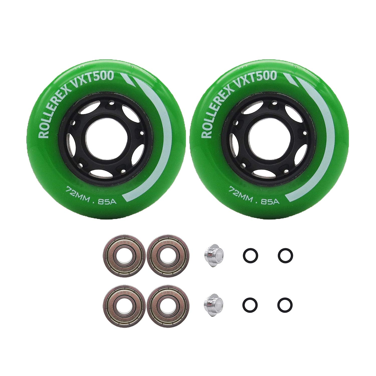 Rollerex VXT500 Inline Skate Wheels (2-Pack w/Bearings, spacers and washers) (Turf Green, 72mm) by Rollerex