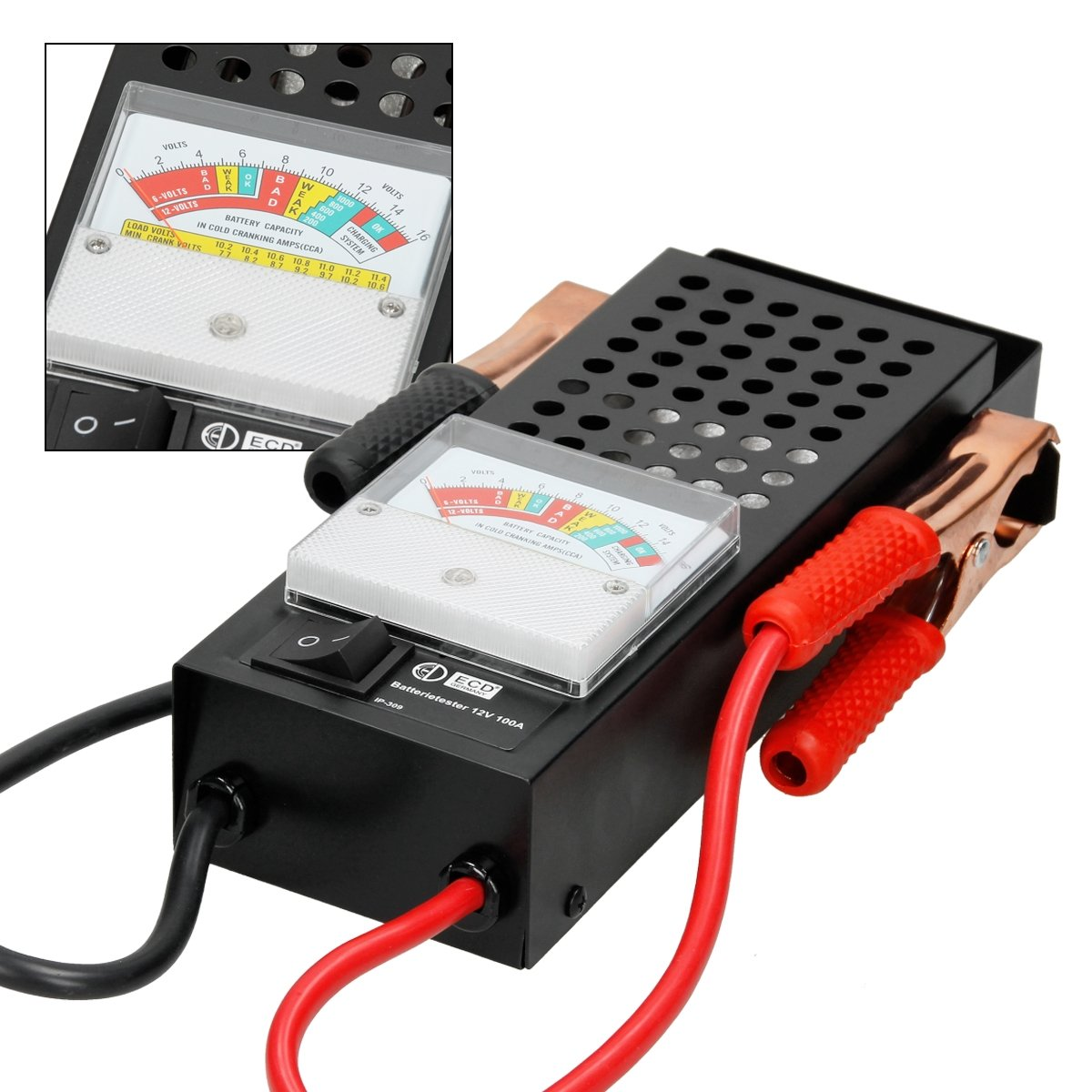 ECD Germany Batery Tester Batteries Checker Test 6V// 12V Load Drop Charging System 100 AMP