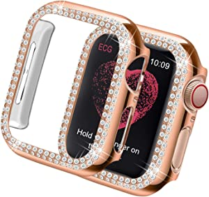Yolovie Compatible for Apple Watch Case 40mm Series 6 5 4 SE Bling Cases Crystal Diamond Shiny Rhinestone Bumper Protective Frame for Women Girl iWatch Face Cover (Double Diamonds, 40mm Rose Gold)