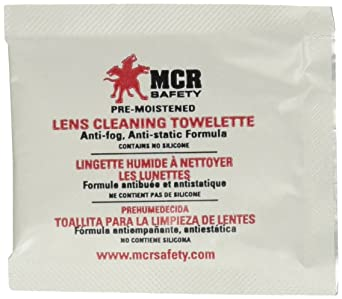 MCR Safety LCT - Toalla de limpieza antiempañamiento para lentes antiestáticas, 100 toallitas