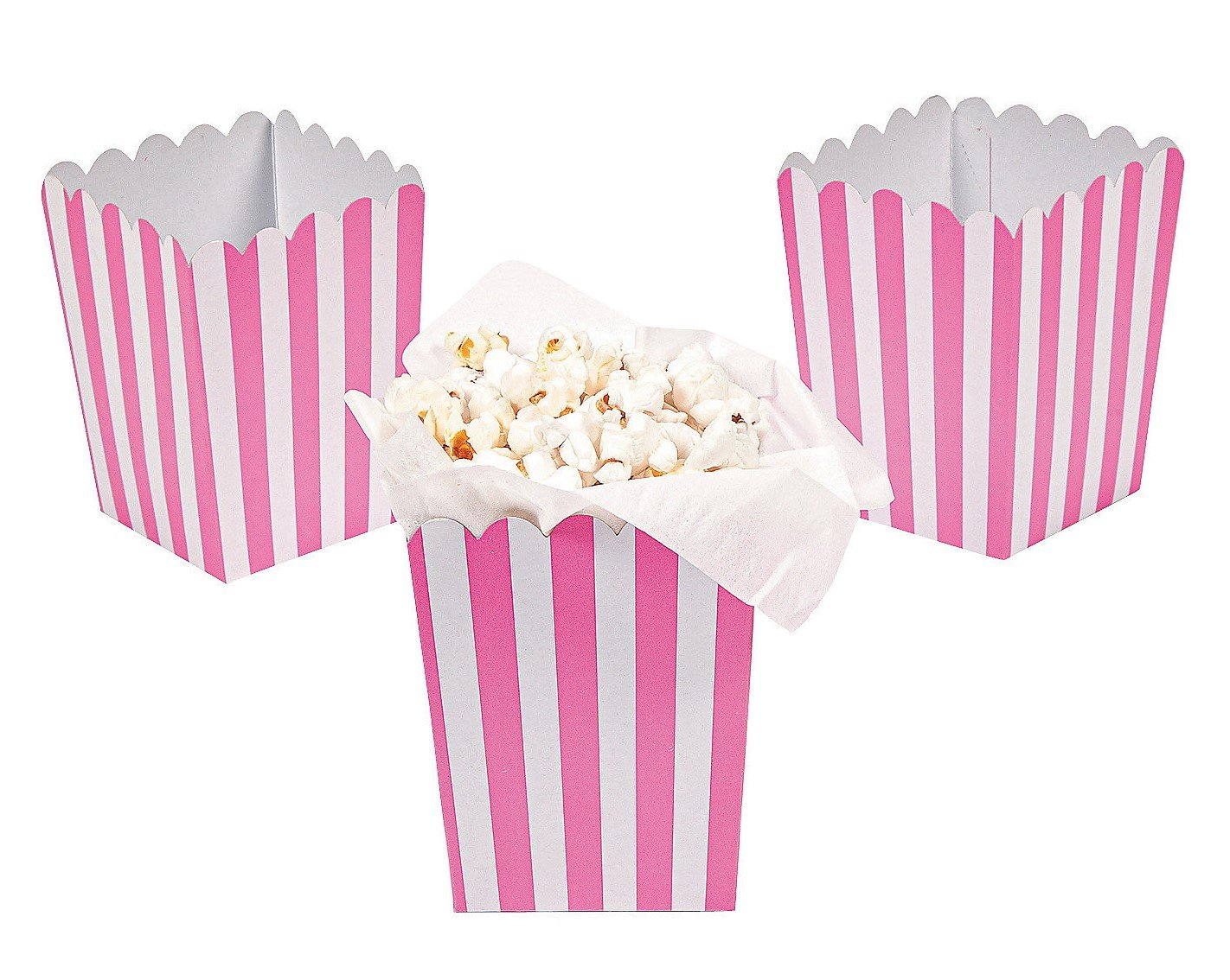 Amazon.com: 24 Mini Candy Pink Striped Popcorn Boxes - Party ...