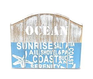 CoTa Global Aqua Sky Wooden Napkin Tissue Holder, 4.75″L x 2.3″W x 4″H Rustic Handcrafted Starfish Coastal Kitchen Organizer Unique Grey Centerpieces - Beach Sea Life Themed Home Accent Accessories