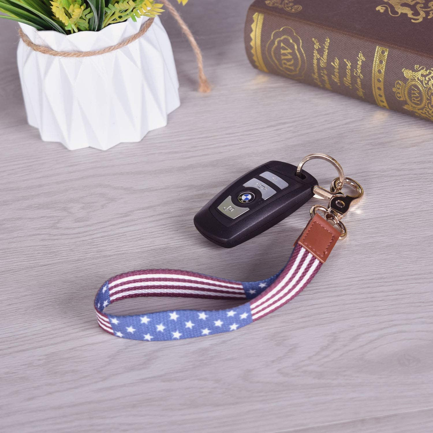 YARENKA Wrist Lanyard for Woman F Cell Mobile Phone etc,Lighe Item etc. Premium Quality Wristlet Strap Key Chain Holder with Metal Clasp and Genuine Leather for Key Chain